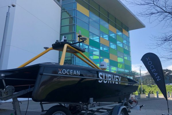 XOCEAN USV pictured outside BP Offices, Aberdeen